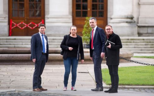 Sinn Fein TD Pearse Doherty, Eoin O'Broin, Matt Carthy and Louise O'Reilly at government buildings this afternoon. Photograph: Aidan Crawley/The Irish Times