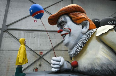 A carnival float shows US president Donald Trump as comic character Joker is seen during a presentation of this year's canival floats of the carnival's committee in Cologne, western Germany. Photograph: Ina Fassbender/AFP via Getty Images