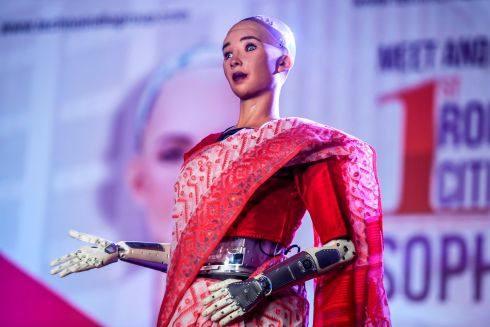 The humanoid robot Sophia, developed by Hong Kong based company Hanson Robotics, appears on stage in front of students and other professionals during a meeting session organised about artificial intelligence in Kolkata. Photograph: Dibyangshu Sarkar/AFP