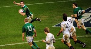 Ireland's Tommy Bowe celebrates as he scores the late match-winning try against England at Twickenham in 2010. Photograph:  Mike Hewitt/Getty Images