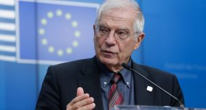 "EU foreign affairs chief  Josep Borrell:  told journalists ships deployed under Operation EU Active Surveillance would be withdrawn if there was any evidence of them acting as a ""pull factor"" for migrants.  Photograph: Stephanie Lecocq/EPA"