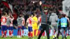 Liverpool manager Jurgen Klopp thanks the travelling fans at Wanda Metropolitano in Madrid. Photograph: PA