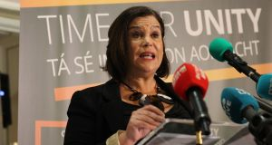 Sinn Féin leader Mary Lou McDonald addressing a party meeting in Belfast. Photograph: Sinn Féin/PA Wire