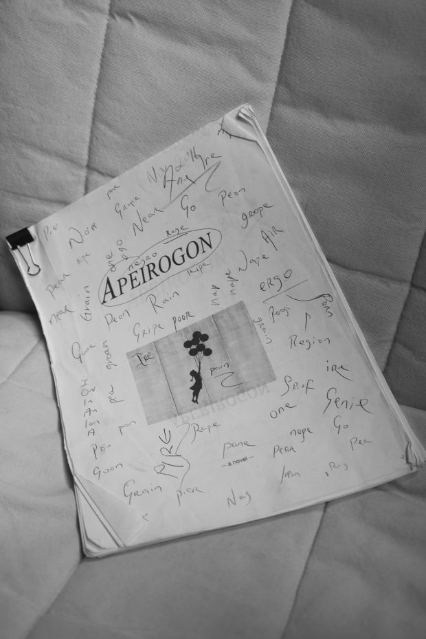 A copy of Apeirogon by Colum McCann in his New York office. Photograph: Jillian Freyer/New York Times