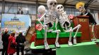 A House of Commons Brexit debate, but with skeletons, set to go on parade in Cologne, Germany. Photograph: Martin Meissner/AP