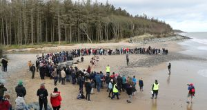 A gathering of 400  watching   the release of four grey seal pups back into the sea following their rehabilitation at Seal Rescue Ireland. Photograph:  Nick Bradshaw