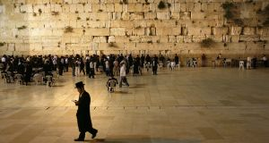 The Western Wall in Jerusalem. A new train station – it is  planned to name it  after US president Donald Trump – will be 50m underground, and will be connected by escalators to the esplanade of the  wall