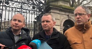 Solidarity-People Before Profit TDs Paul Murphy, Richard Boyd-Barrett and Mick Barry speak to media outside the Dáil. Photograph: Áine McMahon/PA Wire