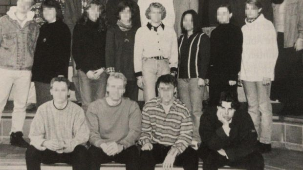 A 1996 yearbook photo of Tobias Rathjen, bottom right, who is suspected of killing 10 people and himself in Hanau, Germany. Photograph: Handout Photo via Getty