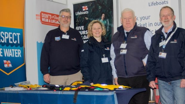 At the Ireland Angling 2020 exhibition are members of the RNLI Community Safety Team (l-r) Kevin Rahill, Lisa Hollingum, John McKenna and George Duffy. Photograph: Tara Murphy.