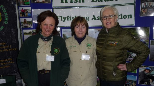 At the Irish Ladies Fly Fishing Association stand at the Angling Expo in Swords, from left: Julie McKeever and Madeleine Kelly, with Grace McDermott of Mara Media