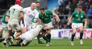 Jonathan Sexton is tackled by England's Dylan Hartley in 2018. The bulk of this Irish team came to Twickenham on St Patrick's Day in 2018. Photograph: Billy Stickland/Inpho