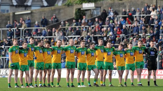 Donegal line up for the national anthem prior to the Division One clash against Meath at Páirc Tailteann in Navan. Photograph: Tommy Grealy/Inpho