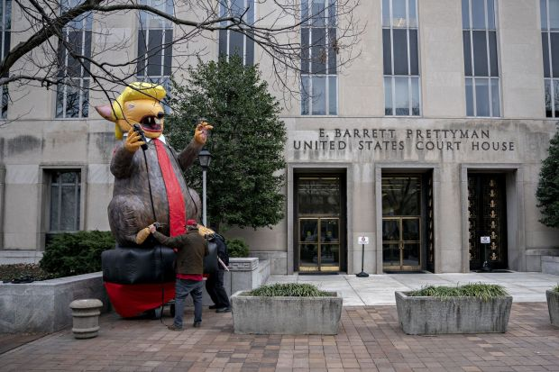An inflatable rat is set up outside the federal court in Washington, DC on Thursday. Photograph: Andrew Harrer/Bloomberg