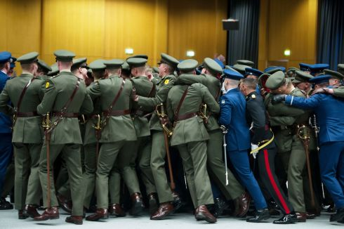 WELCOME ABOARD: Ninety-one newly commissioned officers in the Defence Forces celebrating after receiving their commissions in Dublin Castle. Photograph: Aidan Crawley/The Irish Times