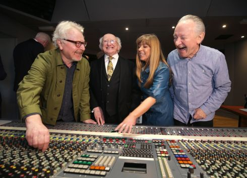 MUSIC MAKERS: President Michael D Higgins, with Naomi Moore, chief executive of Windmill Lane Recording Studio, and musicians, Paul Brady and Donal Lunney who performed at the launch of a unique new visitor experience at the studio in Ringsend, Dublin. Photograph: Damien Eagers/The Irish Times