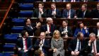 Taoiseach Leo Varadkar (middle left) with other members of the Fine Gael party during the first sitting of the 33rd Dáil in Dublin on Thursday. Photograph: Maxwell Photography/PA Wire