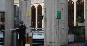 Police outside London Central Mosque in Regent's Park. Photograph: Victoria Jones/PA Wire