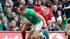 Jordan Larmour scores a try against Wales. His blindside bouncing feet will create opportunities for Ireland.  Photograph: Bryan Keane