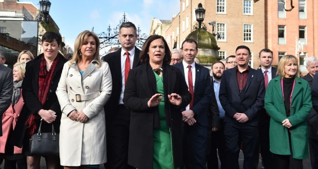 Sinn Féin leader Mary Lou McDonald speaks to the media as she arrives for the convening of the 33rd Dáil in Dublin. Photograph: Charles McQuillan/Getty Images