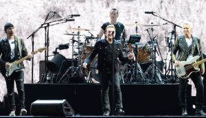 U2 on stage at Croke Park, thirty years after they performed The Joshua Tree in Dublin. Photograph: Eric Luke