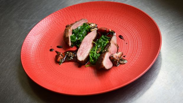 Soy and black pepper Thornhill duck breast, strawberry slaw