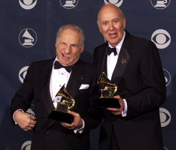 Brooks and Reiner with their Grammy Awards for best spoken comedy album, The 2000 Year Old Man In The Year 2000. Photograph: Vince Bucci/AFP via Getty