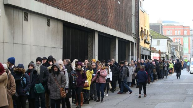 The queue to audition as extras for the upcoming movie The Last Duel stretched the length of Dublin's Old Abbey Street, around the corner onto Marlborough Street, and halfway down Eden Quay. Photograph Nick Bradshaw for The Irish Times