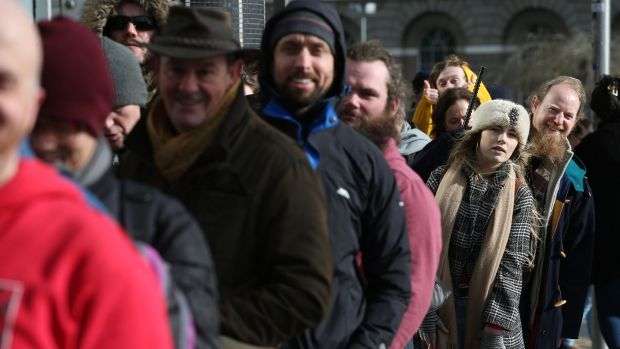 The queue to audition as extras for the upcoming movie The Last Duel. Filming will mostly take place around Dublin, Wicklow, Meath and Tipperary. Pictured are Lavina Maxwell from Firhouse with Christopher Mac Dhonnchadh from Belfast at the audition. Photograph Nick Bradshaw for The Irish Times