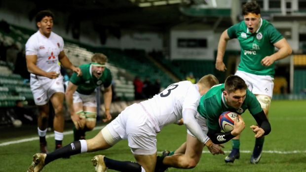 Hayden Hyde scores Ireland's second try during the Under-20 Six Nations Championship match against England at Franklin's Gardens. Photograph: James Crombie/Inpho