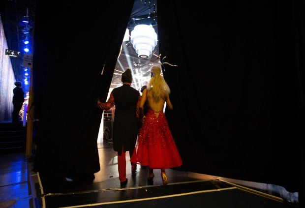 Brian Dowling and Laura Nolan prepare to take to the floor. Photograph: Tom Honan/The Irish Times