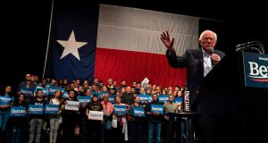 Vermont senator Bernie Sanders speaks during a rally at the Abraham Chavez Theater on February 22nd, 2020 in El Paso, Texas. Photograph: Paul Ratje/AFP/Getty Images.