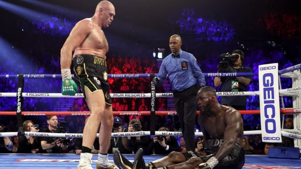 Deontay Wilder on the canvas during the fifth round of his defeat to Tyson Fury. Photograph: Al Bello/Getty