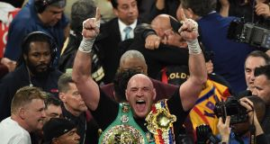 British boxer Tyson Fury celebrates his win over Deontay Wilder. Photograph: mark Ralsotn/Getty/AFP