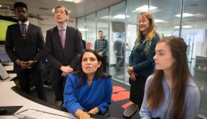 UK Home Secretary Priti Patel meets students and staff working on 'carbon capture' at Imperial College London in South Kensington, London where she announced plans for a new points-based immigration system.  read: Stefan Rousseau/PA Wire