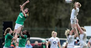 England's Zoe Aldcroft and Aoife McDermott of Ireland in a lineout. Photo: Laszlo Geczo/Inpho