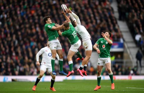 Jonny May of England and Jordan Larmour of Ireland under the high ball during the 2020 Guinness Six Nations match at Twickenham Stadium. Photograph: Shaun Botterill/Getty Images