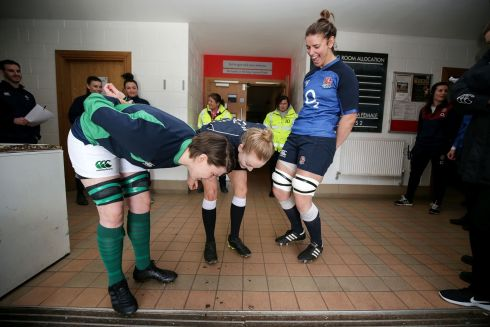 Ireland captain Ciara Griffin, referee Hollie Davidson and England captain Sarah Hunter during the coin toss ahead of the Women's Six Nations match. Photograph: Laszlo Geczo/Inpho