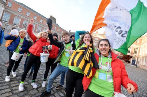 Shona Nolan and Emma Doyle from TCD, Ciara Deegan and Doireann Feehan from Mary I,  Chris Hutchensin and Victor Nwali from TCD, Laura Courtney and Leah Treacy from NUIG at the start line in Dublin Castle for the Amnesty International SVP Jailbreak 2020 student run fundraiser. Photograph: Alan Betson/The Irish Times