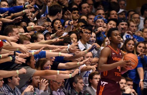 Durham, North Carolina, USA; Virginia Tech Hokies guard Nahiem Alleyne attempts to inbound the ball as Duke Blue Devils guard Cassius Stanley defends during the second half at Cameron Indoor Stadium. Photograph: Rob Kinnan/USA TODAY