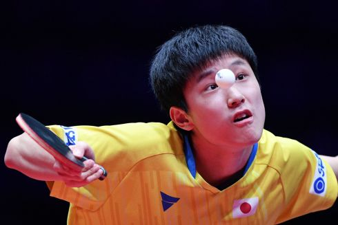Japan's Tomokazu Harimoto plays against Japan's Yukiya Uda (not pictured) during the men's final at the ITTF World Tour competition in Budapest, Hungary. Photograph: by Attila Kisbendek/Getty