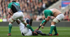 England's Maro Itoje  scuffles with Ireland's James Ryan and CJ Stander. Itoje was everywhere, his hands all over the fixture and he wasn't alone. What a quality athlete and rugby player England have in their No 4 jersey.  Photograph: David Davies/PA