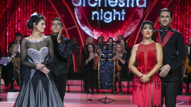 The moment Sinead O'Carroll and partner Ryan McShane were voted off, as Lottie Ryan and Pasquale La Rocca look on. Photograph: Kyrna O'Brien
