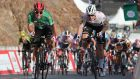 Sam Bennett (R) was pipped by Australian rider Caleb Ewan (L) in stage two of the UAE Tour. Photograph: Ali Haider/EPA