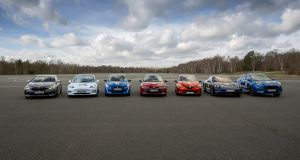 The seven finalists to shoot it out for the prestigious Car of the Year title during a final testing session at the Ceram test track facility in France