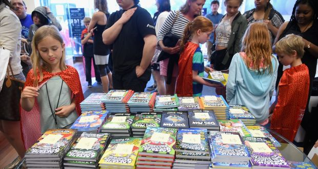 Fans attend attend a Captain Underpants book signing with Dav Pilkey. Photograph:  Ben Gabbe/Getty Images