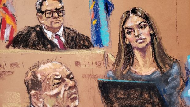 A court sketch of Talita Maia being questioned by defence lawyer Donna Rotunno during film producer Harvey Weinstein's trial in Manhattan. File image: Jane Rosenberg/Reuters.