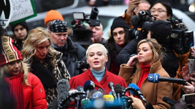 Rose McGowan speaks during a press conference on January 6th after Harvey Weinstein arrived at State Supreme Court in Manhattan on the first day of his criminal trial. Photograph: Johannes Eisele/AFP via Getty Images.