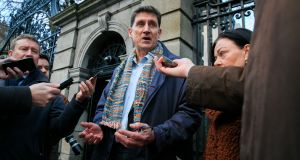 Green Party leader Eamon Ryan is pictured speaking to the media after talks with Sinn Féin on Monday. He said  any viable coalition would need 'around 85-plus' votes in the Dáil to provide stable government. Photograph: Gareth Chaney/Collins.