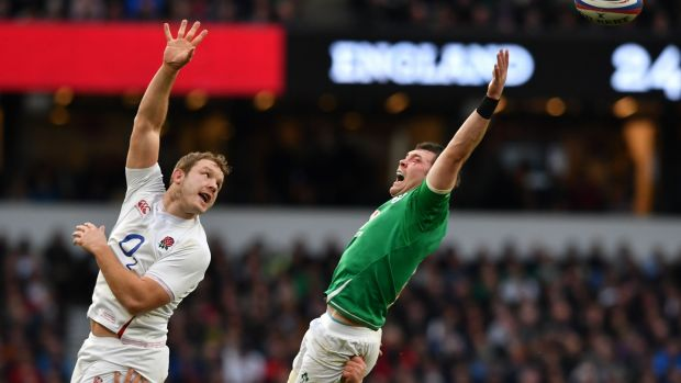England's Joe Launchbury challenges for a lineout with Peter O'Mahony at Twickenham. Photograph: Ben Stansall/AFP/Getty